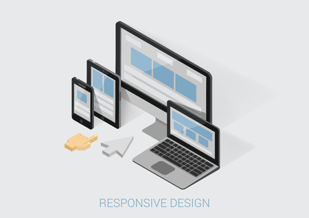Flat 3d isometric responsive web design infographic concept vector. Webdesign website interface on different device screens. Smart phone tablet laptop desktop office computer arm finger touch cursor.