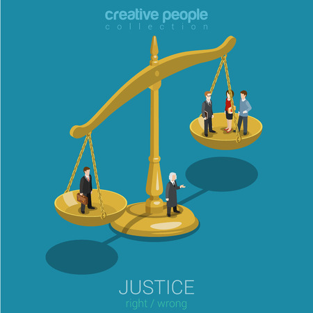 balanza de justicia: La justicia y el derecho, juicio y decisión, sesión de la corte, judicial sentado plana Web 3d isométrica infografía vector de concepto. gente ocasional micro juzgan cuencos de escalas. Las personas creativas colección del mundo. Vectores