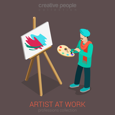 Artist painter at work easel palette flat 3d web isometric infographic concept vector template. Creative people professions collection.