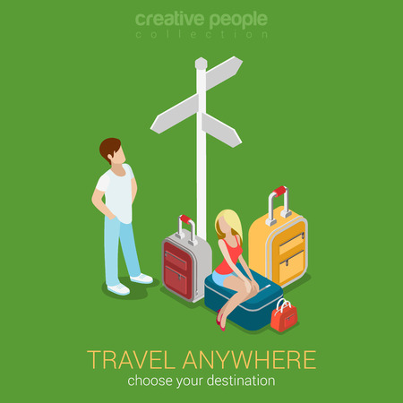 Travel tourism destinations flat 3d web isometric infographic concept vector. Sexy young woman sitting on suitcase and her companion at crossroads and route direction sign. Creative people collection.