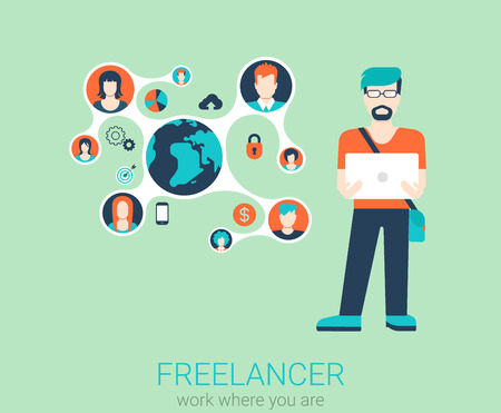 telework: Freelance work flat web infographic concept vector. Young stylish freelancer man with laptop and connected content profiles. Global telework conceptual vector illustration. Creative people collection.