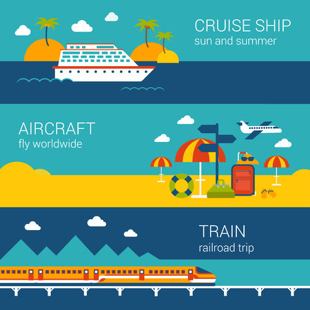 train: Flat design web banners template set of cruise ship aircraft train. Travel vacation worldwide transport concept vector illustration for nautical sailing airplane tickets booking railroad trip. Illustration