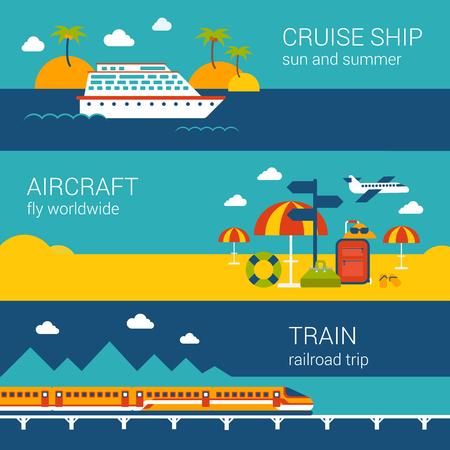 tren: Piso de diseño web banners plantilla de conjunto de tren de aviones de cruceros. Concepto de transporte en todo el mundo ilustración vectorial vacaciones Viajes de billetes de avión de vela náutica reserven viaje del ferrocarril.