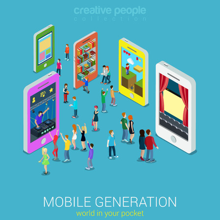 Flat 3d web isometric mobile generation infographic concept vector. Crowded street between smartphones listening music watching tv movie game play library website surfing. Creative people collection.