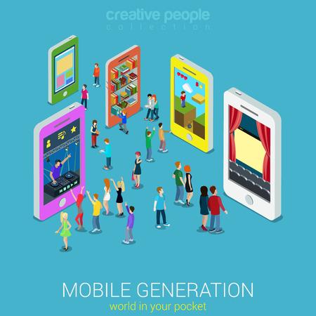 Vlakke 3d web isometrische mobiele generatie infographic begrip vector. Drukke straat tussen smartphones muziek luisteren tv kijken film spel bibliotheek website surfen. Creatieve mensen collectie. Stock Illustratie