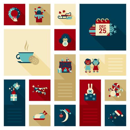 Vector children: Flat Giáng biểu tượng vòng hoa, Santa trong ống khói, lịch, trà hay cà phê với các tập tin cookie, lò sưởi, trẻ em giả mạo, thỏ, mũ, kẹo ngọt, các yếu tố trang trí gà tây thiết lập. Holidays web các biểu tượng bộ sưu tập.
