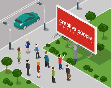 and people: Tarjeta grande en la ciudad plana 3d web isométrica vector de concepto de infografía. Fondo vacío publicidad copyspace, coloque su anuncio, producto, logotipo. Colección de la gente creativa.