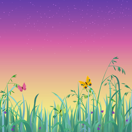summer sky: Nice shiny fresh butterfly dusk sky grass lawn with bokeh blur effect sunshine beam background. Nature spring summer backgrounds collection. Illustration