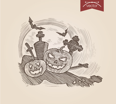 crosshatch: Halloween handdrawn pumpkins on graveyard bat engraving style template poster banner print web site pen pencil crosshatch hatching paper painting retro vintage vector lineart illustration.