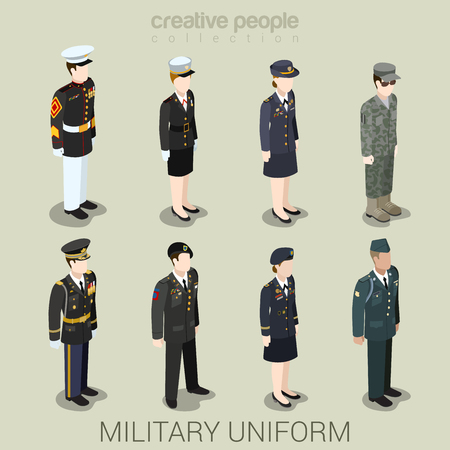 Military army officer commander patrol SWAT people in holiday uniform flat isometric 3d game avatar user profile icon vector illustration set. Creative people collection. Build your own world. Vectores