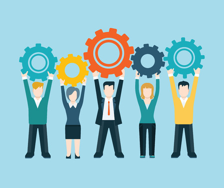 teamwork concept: Flat style modern business people turn up cog wheel gear infographic concept. Conceptual web illustration teamwork workforce corporate spirit. Businessman and businesswoman pieces of company mechanism