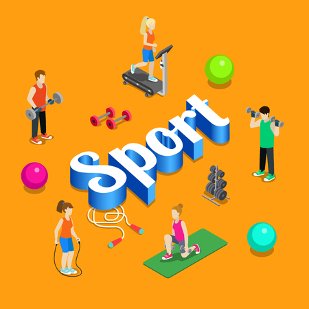 gym workout: Sport gym modern lifestyle flat 3d web isometric infographic vector. Young joyful micro male female crowd group sports workout exercise yoga athletics on huge letters. Creative people collection. Illustration