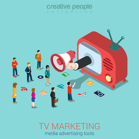 TV 마케팅 광고 판매 쇼핑 플랫 3D 웹 아이소 메트릭 인포 그래픽 개념 벡터. 복고풍 안테나 TV 세트 마이크로 사람과 서비스 아이콘에서 손 스피커 스틱. 일러스트