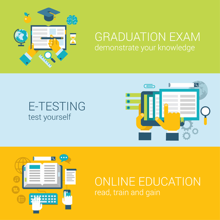exam: Flat style online education e-learning study knowledge graduation exam infographic concept. Hands on test, tablet online course web site icon banners templates set. Website conceptual flat collection.