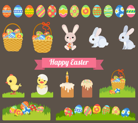 cartoon easter basket: Easter holiday flat style icon set
