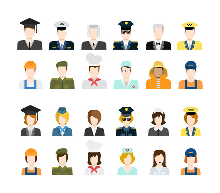 Set of people workers in uniform icons in flat style with faces. Vector men and women character. Template concept collection of web profile avatar. Policeman fireman taxi driver stewardess soldier etc