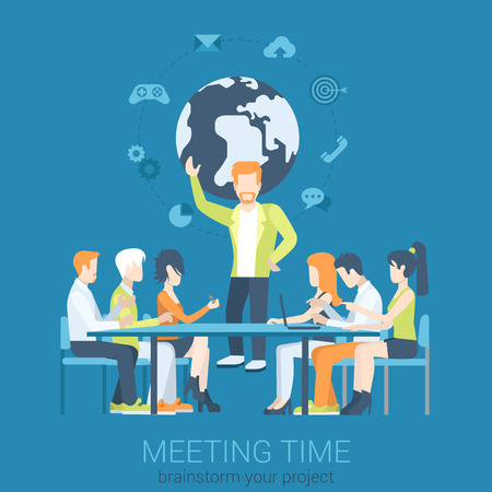 character of people: Flat business report, meeting, skull session, council, presentation, get-together, palaver web infographic concept vector. Group of character people table, boss in center. Illustration