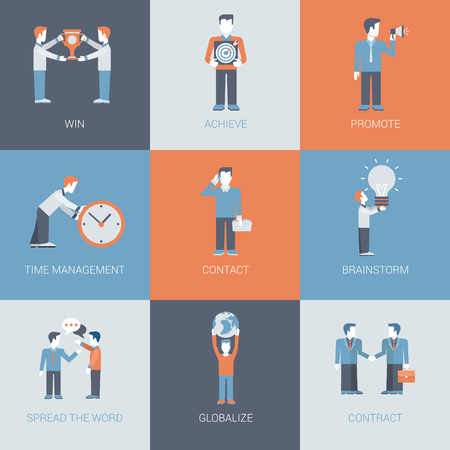 situations: Business marketing promotion people and object situations concept flat vector icon set. Win, achieve, promote, time management, contact, handshake, brainstorming, spread the word, globalization.