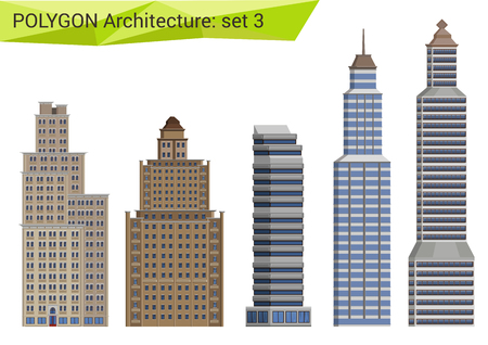 facade: Polygonal style skyscrapers set. City design elements.  Polygon architecture collection.