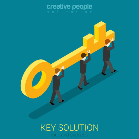web solution: Business movement towards solution concept flat 3d web isometric vector. Micro businessmen carry big golden key. Build creative people world collection.