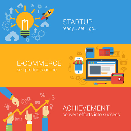 business results: Flat style e-commerce business startup infographic concept. Start up spaceship online store income achievement result graphic web site icon banners templates set. Website conceptual vector collection.