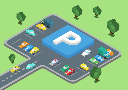 road: Flat style 3D isometric vector illustration concept of public outdoor open parking area. Big letter P road sign laying on parking slots. Cars on the road and stopped parked.