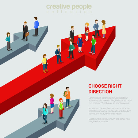 web solution: Choose right solution destination alternative flat 3d web isometric micro people infographic concept vector illustration. Three people groups different huge arrow pathways. Creative people collection.