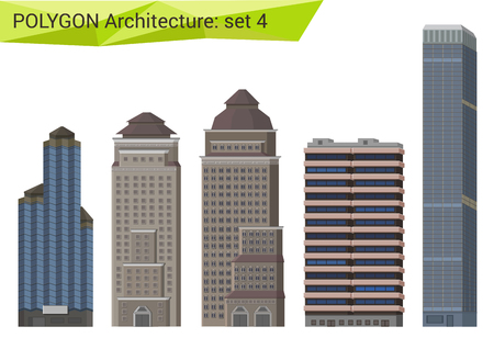 modern building: Polygonal style skyscrapers set. City design elements. Polygon architecture collection.