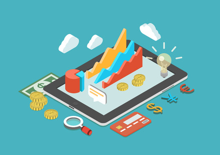 Flat 3d isometric business analytics, finance analysis, sales statistics, monetary concept infographic vector. Collage icons: chart graphs, tablet, coins, credit card, dollar banknote, currency signs.