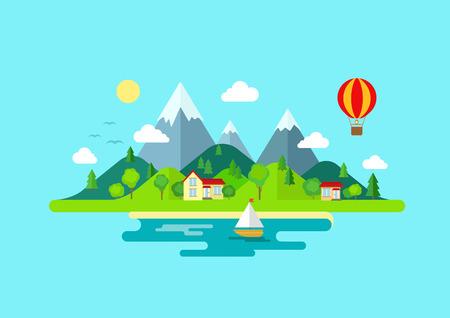 Reisen Bergen Insellandschaft und Segel Farbe Flach Vektor-Symbol der Natur Wetter Konzept Vorlage. Stilvolle trendige Outdoor-Tourismus Rest Urlaub Boot Yacht Ballon Wandern. Wohnung Landschaften Sammlung Standard-Bild - 48544686