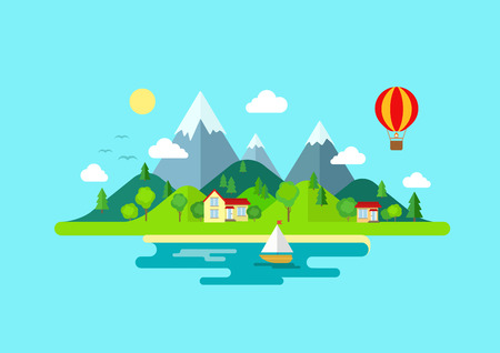 mountain holidays: Travel mountains island landscape and sailing color flat vector icon nature weather concept template. Stylish trendy outdoor tourism rest vacation boat yacht balloon hiking. Flat landscapes collection