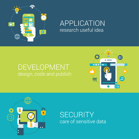 web application: Flat style application security research development infographic concept. Hand with touch smart phone app cursor click interface elements vulnerability breach check web site icon banners templates set