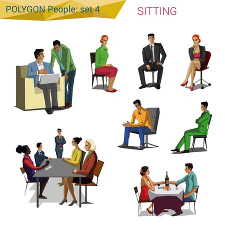 sentarse: estilo que se sienta la gente poligonales conjunto. Polígono personas colección. Vectores