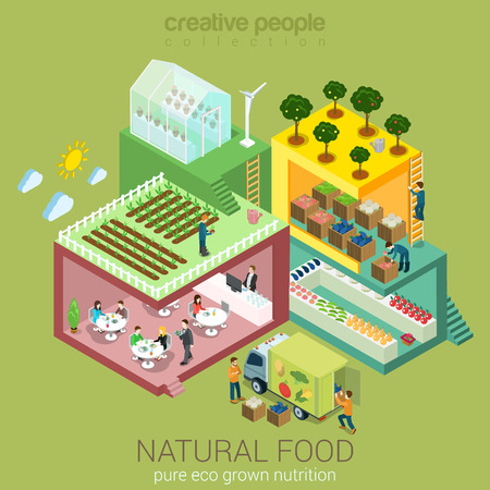 people eating restaurant: Natural eco food grow harvest market sell cook eat flat 3d web isometric nutrition agriculture infographic vector. Farm field garden greenhouse grocery shop delivery. Creative people collection.