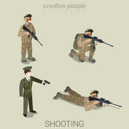 Militair doel schieten mensen in uniform vlakke isometrische 3D-spel avatar gebruikersprofiel pictogram vector set. Soldaat SWAT officier sniper speciale operatie-eenheid. Bouw je eigen wereld web collectie. Vector Illustratie