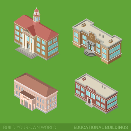 university building: Architecture modern city historic educational buildings icon set flat 3d isometric web illustration vector. Public library university school government. Build your own world web infographic collection