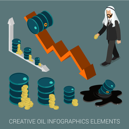 barrel: Oil price drop concept infographic elements flat 3d web isometric vector. Arabic sheikh businessman black oil petroleum slick hand sunken barrel graph data graphic coin money.