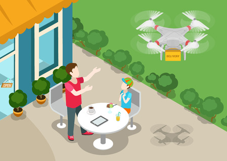 order delivery: Drone quadcopter delivery online product store concept flat 3d web isometric infographic vector. Family dad and son on terrace welcomes multi copter handling box order. Creative people collection. Illustration