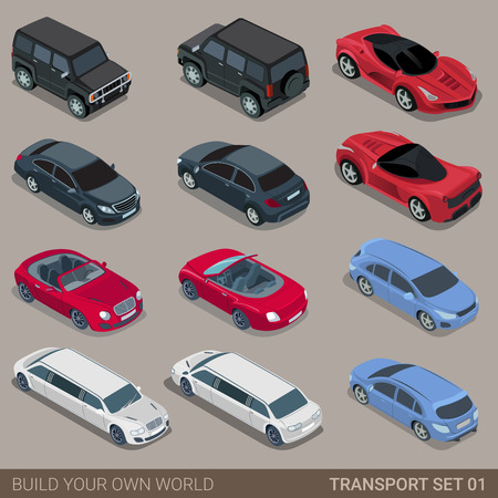 Flat 3d isometric high quality city transport icon set. Car sportscar SUV lux high class sedan limousine limo convertible cabrio. Build your own world web infographic collection. Stock Illustratie