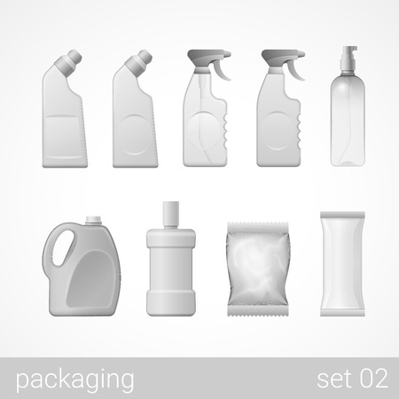 Cleanser detergent spray shampoo soap plastic package set. Blank white grey packaging objects isolated on white vector illustration.