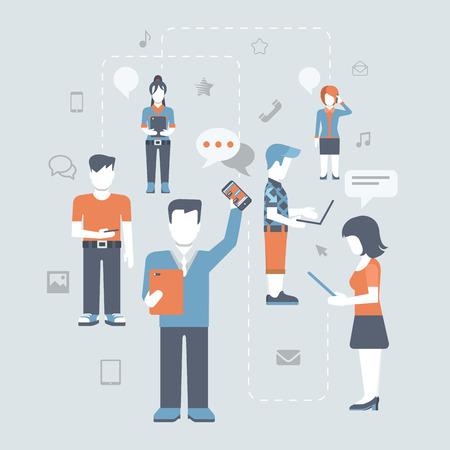Vlakke stijl jongeren achterhalen online sociale media communicatie infographic begrip vector icon set. Man vrouw met tablet telefoon laptop. Inhoud en mensen verbonden via chat aandeel zoals e-mail.