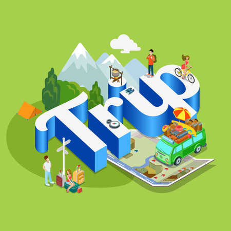 people  male: Trip modern lifestyle flat 3d web isometric infographic vector. Young joyful micro male female hippe van on huge letters. Creative people world vacation tourism collection. Illustration