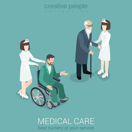 medico con paciente: Médico enfermera de cuidados medicina médico personal del hospital seguro médico plana 3d concepto de web isométrica. Mujer en uniforme con el hombre viejo y paciente en silla de ruedas. Colección de la gente creativa. Vectores