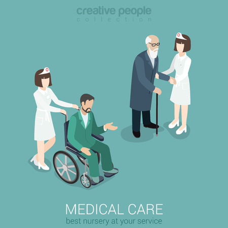 old sign: Medical care nurse doctor medicine hospital staff healthcare insurance flat 3d isometric web concept. Female in uniform with old man and patient on wheelchair. Creative people collection. Illustration