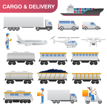 barge: Flat delivery logistics transport icon set. Cargo car truck van tanker barge ship helicopter airplane aircraft train carriage cistern lorry scooter motorbike and riders. Web infographic collection. Illustration