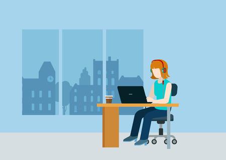 Vrouw webdesigner programmeur coder support call center op de werkplek over moderne stad lege achtergrond sjabloon mockup concept van platte 3d web isometrische infographic vector. Creatieve mensen collectie.