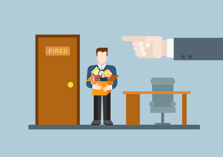 You are fired flat modern trendy stylish concept vector illustration. Big boss hand finger pointing ex-worker to door with fired word plate. HR conceptual collection. Çizim