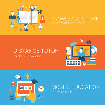 online book: Flat education, knowledge is power, distance tutor, mobile education, e-learning concept. Vector icon banners template set. Book, teacher, tablet etc. Web illustration. Website infographics elements.
