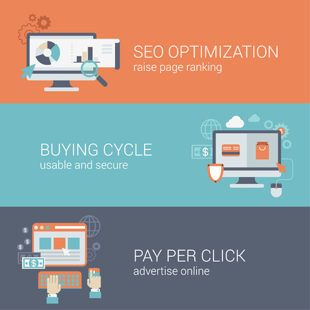 per: Flat style SEO website optimization buying cycle pay per click infographic concept. Computer with web site pages visits analytics online payment advertising block interface icon banners templates set. Illustration