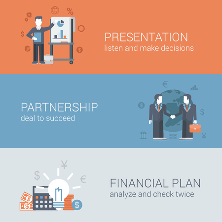 business deal: Flat businessman presentation, partnership deal handshake to succeed, financial plan concept. Business web site icon banners templates set. Website conceptual flat vector illustrations collection. Illustration
